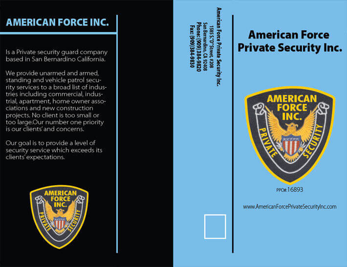 American Force Private Security Brochures Security